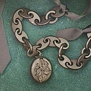 Antique Victorian Vulcanite Mourning Locket and Chain
