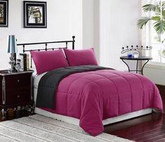 Reversible Down Alternative Comforter Set | Pink/Grey