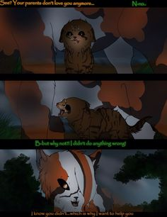 Warrior cats mini comic. Mapleshade (calico she) and Crookedkit (tabby brown tom). If you want to get a better look at the comic and see the details check out my deviantart page. http://colbatspark.deviantart.com
