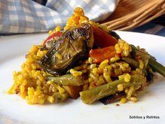 ARROZ HUERTANO O ARROZ CON VERDURAS Spanish Kitchen, Spanish Food, Spanish Recipes, Kitchen Dishes, Rice Dishes, Couscous, Quinoa, Clean Recipes, Risotto