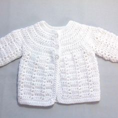 Discover thousands of images about Newborn white cardigan Infant matinee coat Baby shower Crochet Baby Sweater Pattern, Crochet Baby Sweaters, Baby Sweater Patterns, Crochet Baby Cardigan, Baby Girl Crochet, Crochet Baby Clothes, Crochet Jacket, Baby Patterns, Newborn Crochet
