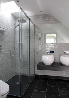 40 grey slate bathroom floor tiles ideas and pictures 2019 Loft Bathroom, Ensuite Bathrooms, Bathroom Renos, Small Bathroom, Bathroom Ideas, Vanity Bathroom, Bathroom Island, Beach House Bathroom, Small Bathtub