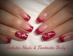 Gel nails Wetlook spicy red whit red/ white style art 10