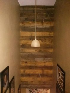 We Used Old Wood Siding Planks On The Wall Above Our Basement Stairway.  Love It