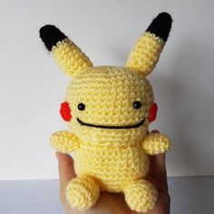Finished this cutey. Dittochu! What do you think?  #pokemon #pokemongo #dittochu #pikachu #ditto #crochet #amigurumi #kawaii #cute #yarn #plushie #custom #pokemontrainer #nintendo