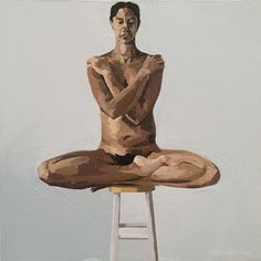Nude on Stool with Arms and Legs Crossed Painting Cross Paintings, Original Paintings, Buy Art, Oil On Canvas, Saatchi Art, Arms, Nude, Statue, Stool