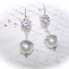 WEDDING Earrings  Pearls and Swarovski by SouthernBelleOOAK, $20.00