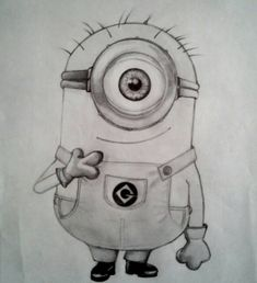 minion by ManfrediMelodia on DeviantArt Easy Drawings Sketches, Cute Disney Drawings, Cool Art Drawings, Cartoon Sketches, Pencil Drawings, Minion Sketch, Minion Drawing, Minion Art, Nature Drawing For Kids