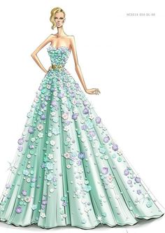 Date: 09-10-2016 Note: Chic long gown. An inspirational drawing with flower trimmings. Perfect color and floral look for summer.