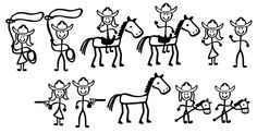 Stick Figure People (Cowboy Themed) SVG File Collection         October 15, 2014 at 03:51PM