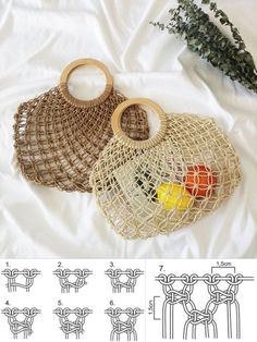 Macrame Bag, Macrame Knots, Crochet Handles, Diy Bags Tutorial, Animal Sewing Patterns, Finger Knitting, Macrame Design, Macrame Tutorial, Macrame Projects