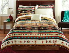 Turquoise and tan Southwestern Native American Style Comforter Set