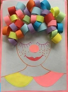 Would be good for making a clown for ow sound Clown Crafts, Paper Crafts For Kids, Diy For Kids, Arts And Crafts, Kindergarten Art, Preschool Crafts, Art N Craft, Crafty Kids, Art Activities