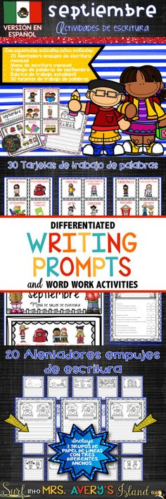 Looking for some September Spanish writing prompts as you gear up and head back to school? Click here to discover some fun, engaging, and creative ideas perfect for providing differentiated writing lessons for your Spanish speaking kids.