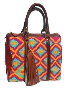 Artisan crafted handbag, woven tribal Wayuu fabric, tassel detail and adjustable shoulder strap