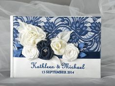 Custom Wedding Guestbook  Navy Guestbook Lace by forlovepolkadots