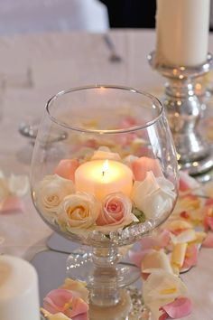 Soft elegance inspiration - candles and rose petals - white and blush wedding in. Soft elegance inspiration - candles and rose petals - white and blush wedding inspiration Wedding Table Centerpieces, Floral Centerpieces, Floral Arrangements, Wedding Decorations, Table Wedding, Shower Centerpieces, Diy Wedding, Wedding Flowers, Wedding Day
