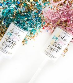 Gender Reveal Push-Pop Confetti - The Project Nursery Shop - 7 Push Pop Confetti, Baby Playroom, Project Nursery, Reveal Parties, Baby Boy Shower, Gender Reveal, Birthday Decorations, Party Planning, Boy Or Girl