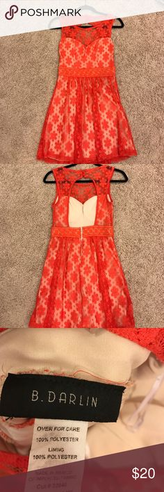 Orange Lace Dress Bought this really cute dress from Macy's. Worn only once. The back is amazing and sits exactly above the hips. Comes with pads. Macy's Dresses