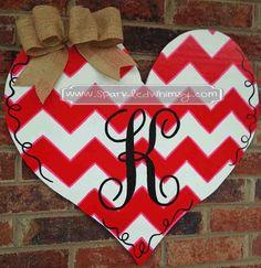Monogrammed Chevron Heart Valentine Door Hanger by SparkledWhimsy, $42.00