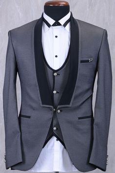 Grey & Black Italian Classic Suit-ST805