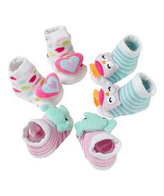 Cute-Look what I found on #zulily! Pink & Teal Heart Animal Socks Set by Baby Gear #zulilyfinds