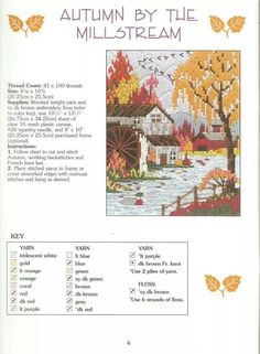 LOVELY SEASONS IN LONG STITCH * AUTUMN BY THE MILLSTREAM 1/2 by CONN BAKER GIBNEY 6/9