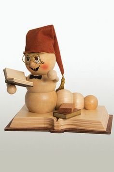 Rudi the Bookworm German Wooden Christmas Incense Smoker Made in Germany