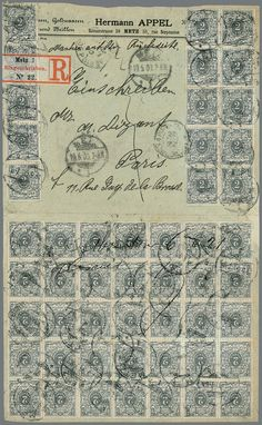 German Empire, 1889 crown and eagle. 2 Pfg., pure multiple franking from 50 Ex., as well scarce 35er-Block, on face and reverse on registered cover the 4. weight step from Metz 1901 to Paris, opened good showable, typical small defects from legitimate usage    Dealer  Rauhut & Kruschel Stamp auction    Auction  Minimum Bid:  150.00EUR