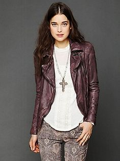 Love the colour for a leather jacket