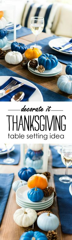 Thanksgiving Table Setting ideas with painted pumpkins. Navy and orange table setting for fall, Thanksgiving