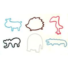 WILD ANIMALS Shaped Silicone Rubber Band Bracelets 12pk