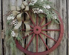 "SHIPS FREE-30"" Juniper Barn Wreath, Wagon Wheel Wreath, Rustic Christmas Wreath, Luxury Christmas Wreath, Lodge Christmas"