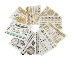 yueton 9 Sheets of Metallic Gold, Silver and Multi-color Temporary Flash Tattoos - Disposable Removable Waterproof Temporary Tattoos Body Art Sticker for Teens Men Women Adult Girls * Click image for more details. (As an Amazon Associate I earn from qualifying purchases) Boho Tattoos, Sexy Tattoos, Body Art Tattoos, Gold Tattoo, Metal Tattoo, Tattoo Paper, Flash Tattoos, Teen Guy, Tattoo Kits