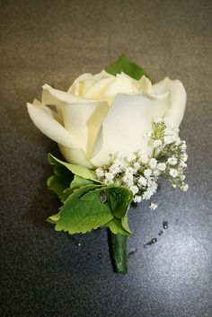 Hydrangea & Babies Breath Buttonhole by Flowers Made Easy, via Flickr