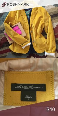 Amazing mustard yellow blazer Everything about this jacket is perfect! Is color, the cut, the lining! Perfect for jean, you can dress it up or dress it down. You will hands down look amazing in this piece! Eddie Bauer Jackets & Coats Blazers