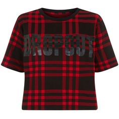 Fashion Union Red Check Drop Out Crop Top (645 RUB) ❤ liked on Polyvore featuring tops, red crop top, red top, fashion union, short sleeve crop top and checkered crop top