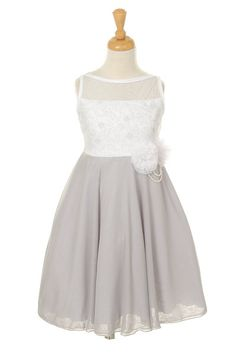 Girls White/Silver Dress with Lace Embroidery