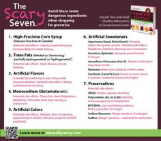 The Scary Seven from Naturally Savvy: Top 7 Ingredients to Avoid in Our Food #health   http://freshly-grown.com/the-scary-seven/#