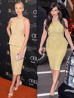 CHARLIZE VS. KIM    Hace unos días,Kim Kardashian (der.) llegó al Today Show (NBC) con este vestido tipo peplum en encaje amarillo, diseño de la colección Pre-Otoño 2012 de Stella McCartney. Este vestido ya se lo había puesto Charlize Theron en enero del año pasado, para asistir a un evento de la BAFTA en Los Ángeles.