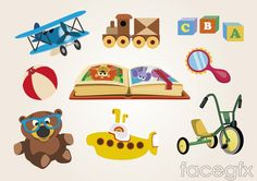 9 section of cartoon children toys vector