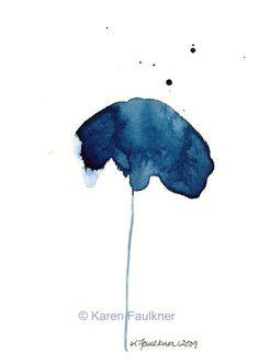 After Midnight indigo watercolor flower giclee by karenfaulknerart, $15.00