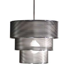 Metallic pendant light.