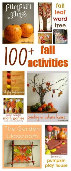 100+ fall activities for kids :: fall crafts, autumn sensory play, fall math and literacy games