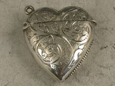 Victorian Antique Silver Heart Shaped Vesta Case