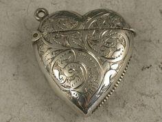 Victorian Antique Silver Heart Shaped Vesta Case