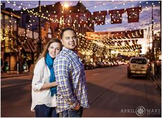 Larimer Square Denver Engagement photo. An engagement photo at sunset with the string lights of Larimer Square in downtown Denver, Colorado. - April O'Hare Photography http://www.apriloharephotography.com  #DenverEngagement #WinterinDenver #urbanengagement #urbanphotos #DenverUrbanPhotos #lododenver #downtowndenver #denverphotographer #LarimerSquare #LarimerSquareDenver #LarimerSquareEngagement