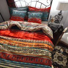 MeMoreCool Home Textile Fashion Boho Bedding Set Modern Bohemian Duvet Covers 100% Cotton Brand Bedding Set 4Pcs Queen/King Size: Amazon.co.uk: Kitchen & Home