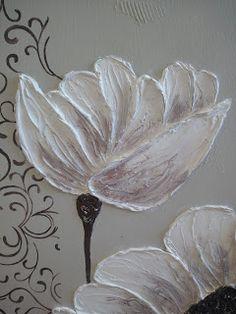 El Refugio de Lirtea: CUADRO CON FLORES EN RELIEVE Diy Angel Wings, Plaster Art, Pallet Art, Texture Art, Flower Art, Art Drawings, Cactus, Fine Art, Home Deco
