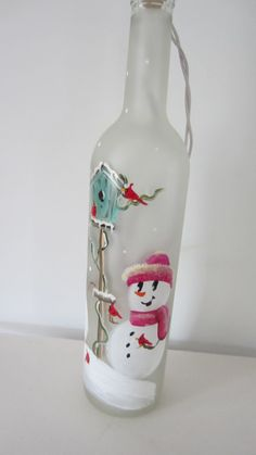 Snowmen  Lighted  Frosted  Wine Bottle